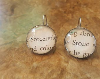 Harry Potter Sorcerers Stone book page earrings