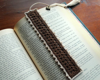 Crochet bookmark, brown and ecru, book charm on the tassel, unique book lover gift
