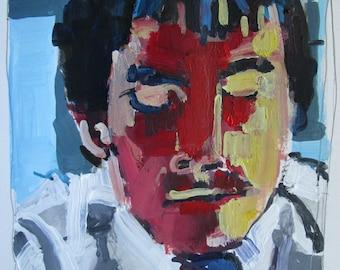 Student Reading, Original Portrait Painting on Paper, Stooshinoff