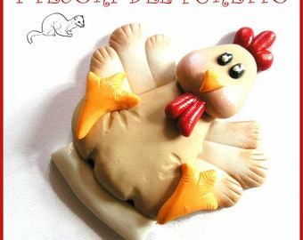 "Easter pin ""hen rooster"" Fimo Grouper Press Kawaii gift idea customizable with name Christmas jewelry girl Woman"