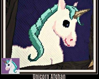 Unicorn C2C Graph, Unicorn Afghan, Crochet Pattern, Unicorn corner to corner, C2C Graph