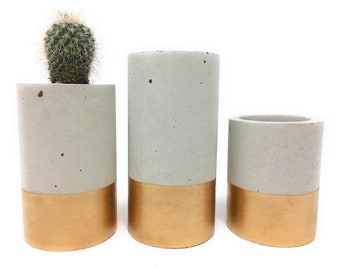 Concrete Succulent Planters/Air Plant Holders.  (set of 3) Gold.    FREE SHIPPING! Ready To Ship!