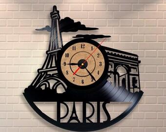 Paris bedroom decor, Wall clock made of vinyl record, Paris wall art, Paris eiffel tower, Paris skyline, Paris theme decor, Paris clock