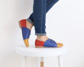 Colorful unique womens flat monk handmde leather shoes , free shipping , ADI KILAV