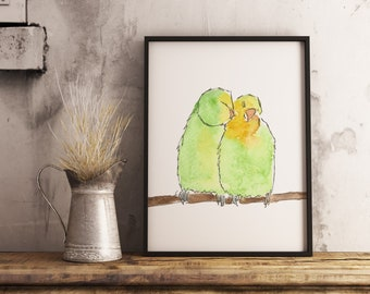 Love birds, love birds painting, bird painting, bird art, engagement present, anniversary present