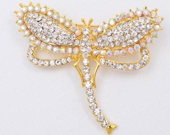 Crystal Gold Brooch Dragonfly Brooch Crystal Dragonfly Brooch Bridal Dress Pin Bouquet Cake Decor DIY Supplies Dragonflies Rhinestone Brooch