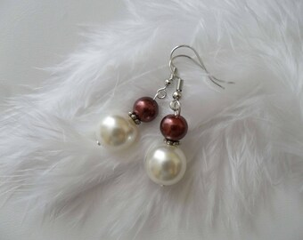 Earrings Brown and White Pearl Bridal jewelry wedding ceremony
