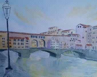 Original Ponte di Vecchio watercolor
