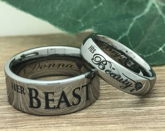 Beauty and the Beast Rings His Beauty Her Beast Personalized