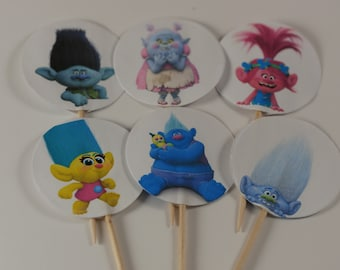 SALE set of 12 cupcake picks, Trolls birthday theme, Birthday cupcake toppers, Birthday cupcake picks, trolls cupcake picks, double sided