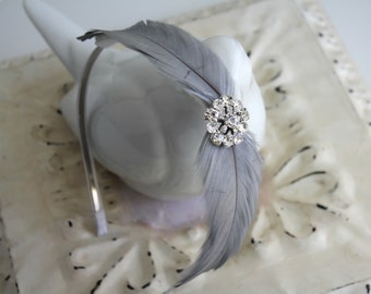 Silver Grey Feather Headband - Crystal Bridal Headband - Feather Fascinator - Bridesmaids - Many Colors
