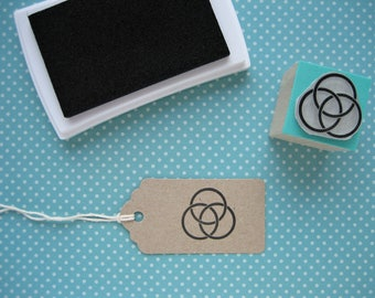 BORROMEAN RINGS Stamp. Borromeo Knot Stamp. Circles Stamp.  Stamps of Mathematics. Mathematics Stamp. Maths Stamp. Geometry stamp