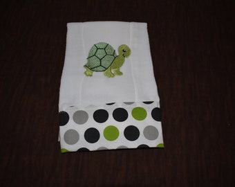 Adorable Turtle Baby Boy Burp Cloth