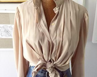 Vintage 80s beige pleated poet blouse , size L