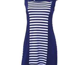 Striped dress with slash neck 0165