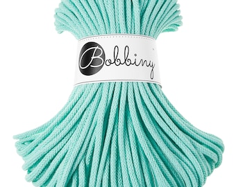 Mint macrame cotton cord - Bobbiny - 54 yards (50 meters), 0.2'' (5mm) thick