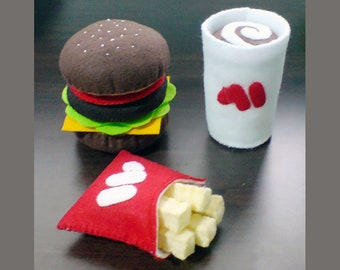 Felt Fast Food Burger Fries Coffee Felt Patterns and Tutorials PDF Sewing Patterns (Instant Download)