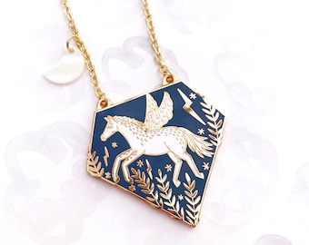 Pegasus Enamel Pendant Necklace - Gold