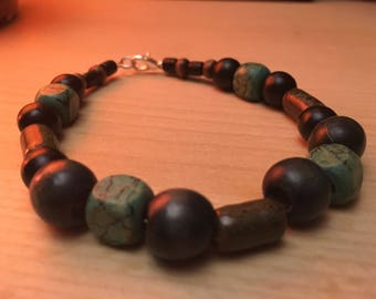 Mixed Wood Bead and Porcelain Bracelet