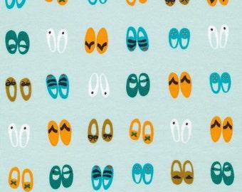Fancy Steps (Turquoise) - Sidewalk - Rae Hoekstra - Interlock Knit - Organic Cotton - Cloud 9 Fabrics - 1 Yard