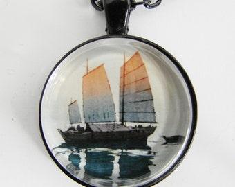 HIROSHI YOSHIDA Morning Sunlight Necklace -- Japanese woodblock print, Detail from 1921 Sailing Boats series, shin-hanga style
