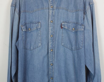 Vintage jeans shirt 90s - denim - long sleeves - oversized