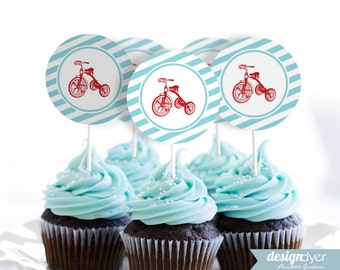 Classic Red Tricycle Printable Cupcake Toppers Favor Gift Tags Stickers Labels INSTANT DOWNLOAD
