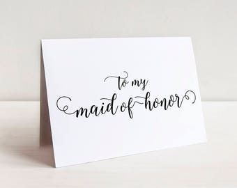 Thank You Card Maid of Honor - Wedding Thank You - Bridesmaid, to my Flower Girl, Groomsmen - To My Bridal Party Thank You Bridesmaid Gift