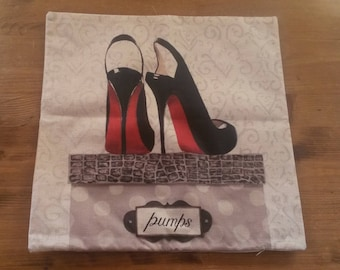 "Pillowcase / pattern ""red and black shoes"""