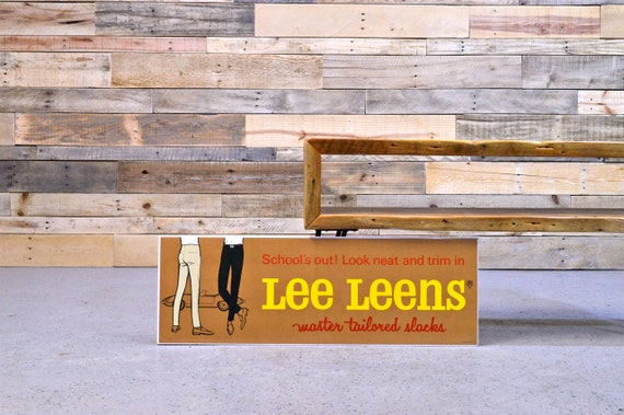 Lee Jeans Advertising Sign, Lee Leens, 1950s Denim Advertising