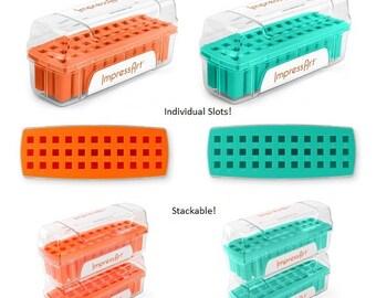 Metal Stamp Storage Case, ImpressArt Alphabet Stamp Holder, Orange or Teal, Stackable Storage Cases 3mm, 4mm or 6mm Empty Cases,