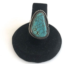 Vintage Native American Sterling Silver Turquoise Ring Size 6.5