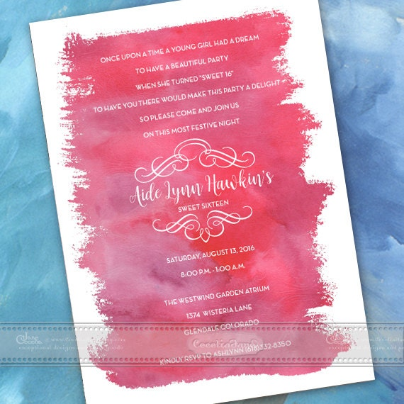 sweet sixteen birthday party invitations, quinceanera invitations, fuchsia party invitations, baby shower invitations, IN489