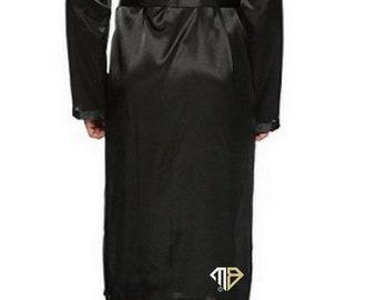 Men's Obey Handcuffs Rhinestone Diamante Satin Robe - Crystal Embellished Robe - Men's Dressing Gowns