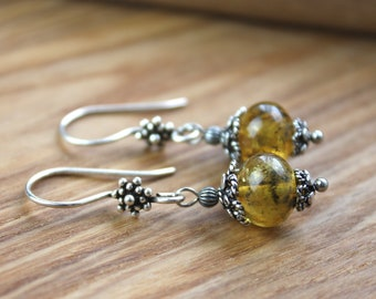 Green Buds Amber Dangle Earrings, Baltic amber jewelry, Natural jewelry, Boho jewelry, Bohemian jewelry, Gifts for her, Gifts for Women
