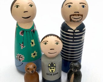 Custom Peg Doll Family - Highly Detailed - Family Portrait - Family Gift - Personalized Peg Dolls - Adoption Gift - New Baby Gift