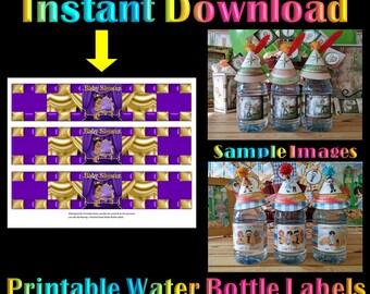 Printable Water Bottle Labels Royal Princess | Instant Download Baby Shower Purple Gold