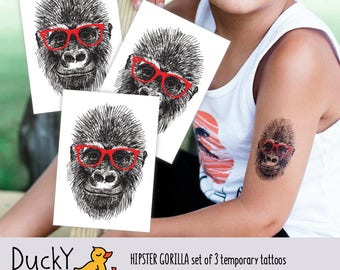 "Set of 3 temporary tattoos ""Hipster gorilla"". Black and white gorilla with red glasses. Hipster animals party favors. TT076"