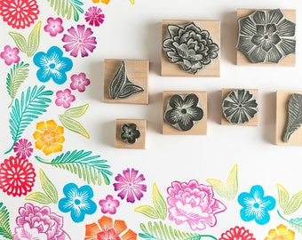 Mexican Flower Rubber Stamp, Flower Stamp, Mexican Stamp, Wooden Stamp, Art Stamp, Wedding Stamp, craft stamp, gift for her, floral stamp