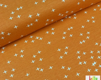 ORGANIC Jersey Fabric, Cotton Jersey Knit Fabric - Wink in Orange from Mod Basics 3 Collection by Birch Fabrics - UK Seller