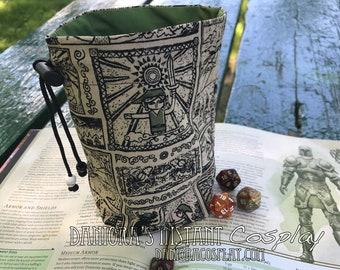 Legend of Zelda woodcut print cloth dice bag