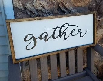 Gather Sign, Wood Sign, Dining Room Wall Art, Rustic Dining Room Decor, Farmhouse Decor, Framed Sign