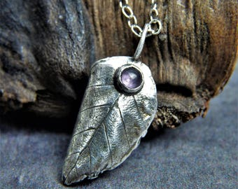 Silver leaf necklace with amethyst, fine silver, metal clay pendant, birthstone february, sustainable fashion, eco aware, gift for women