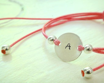 Girls Personalized Silver Circle Charm with Adjustable Waxed Cotton Cord