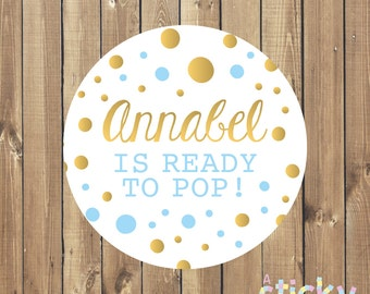 Personalized Ready to Pop Stickers, Baby Shower Stickers, Ready to Pop Labels, Baby Shower Favor Stickers, Ready to Pop, Popcorn Stickers