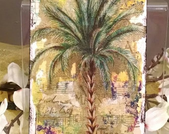 Palm Tree Postcard, Collage Postcard with Gelli print, sheet music, ink, 4x6 inches on paper, Free US Shipping