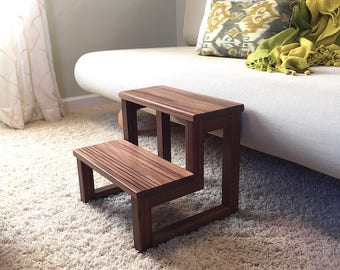 2 Step solid Walnut Open Air Pet Steps
