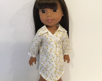 "14.5"" Doll Clothes - Yellow Peeps Cotton Nightshirt - To fit Wellie Wishers"