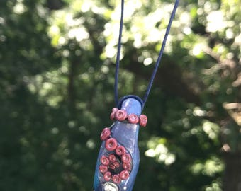 Deep Sea Polymer Clay Pendent w/ Agate Rod