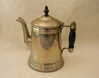 Vintage Silver over Copper Coffee Pot with Wood Handle & Finial
